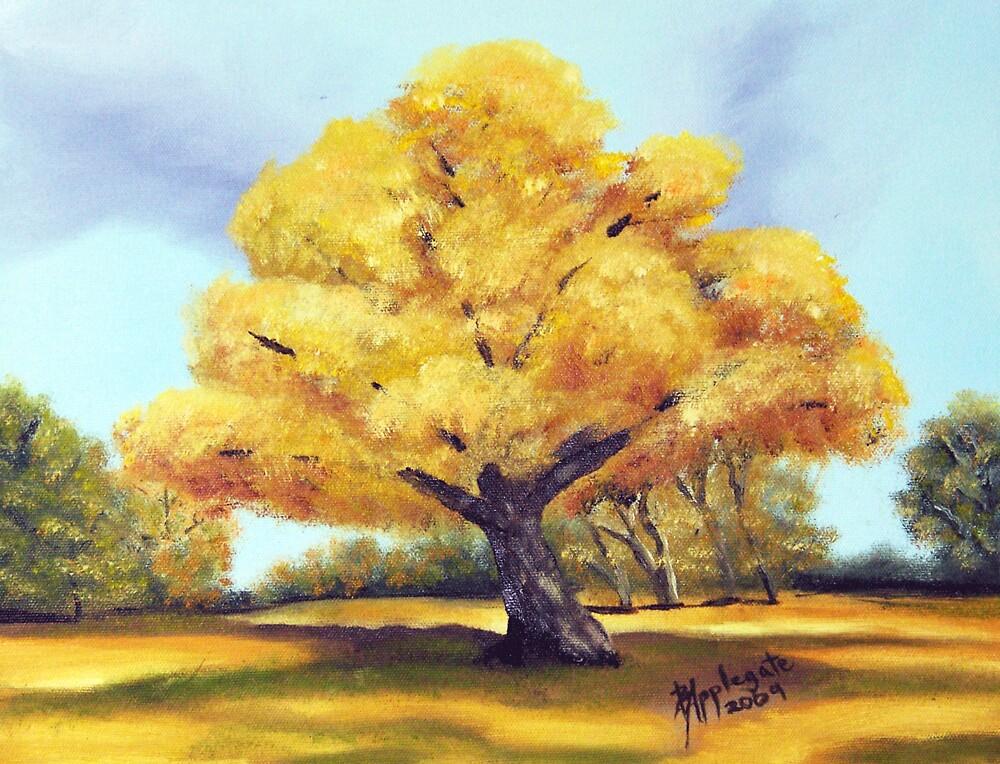 Old Cottonwood ~ Southwest Landscape ~ Oil Painting by Barbara Applegate