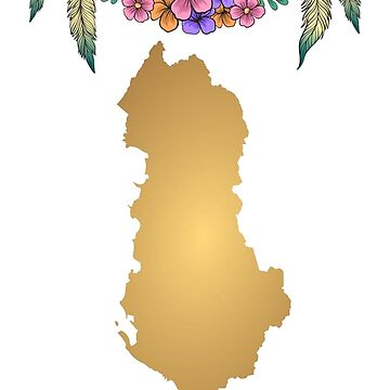 Albania Map Boho  by tanabe