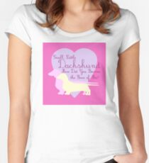 """""""Small, Little Dachshund How Did You Become the Boss of Me?"""" Doxie Weenie Dog Pink Purple Girly Girlie Silhouette  Women's Fitted Scoop T-Shirt"""