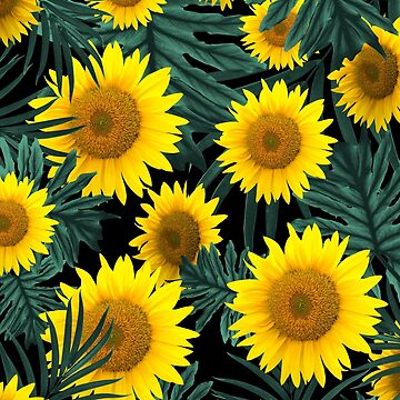 Tropical Sunflower Jungle Night Leaves Pattern #1 #tropical #decor #art  by anitabellajantz