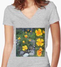 Golden light shining collage Women's Fitted V-Neck T-Shirt