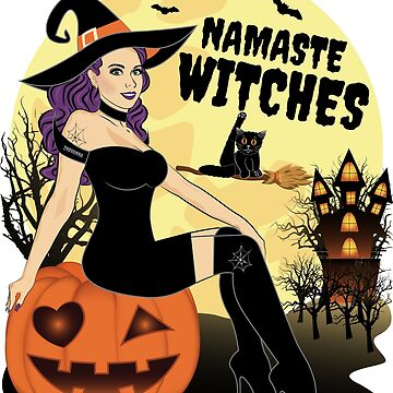 Namaste Witches Yoga Halloween Witch by ZNOVANNA