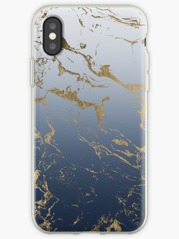 Modern grey navy blue ombre gold marble pattern by girly trend by GirlyTrend