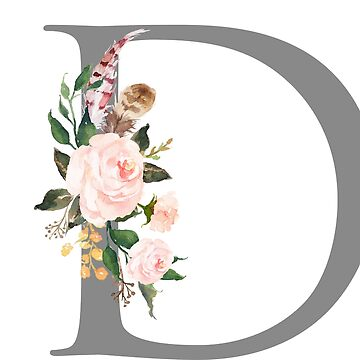 D Monogram Initial Letter Floral Design by tanabe