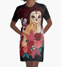 Owl Floral Eclipse Graphic T-Shirt Dress