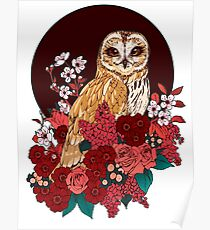 Owl Floral Eclipse Poster