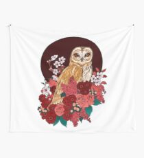 Owl Floral Eclipse Wall Tapestry