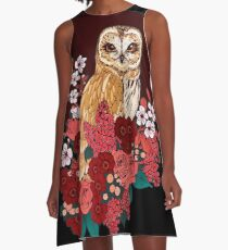 Owl Floral Eclipse A-Line Dress