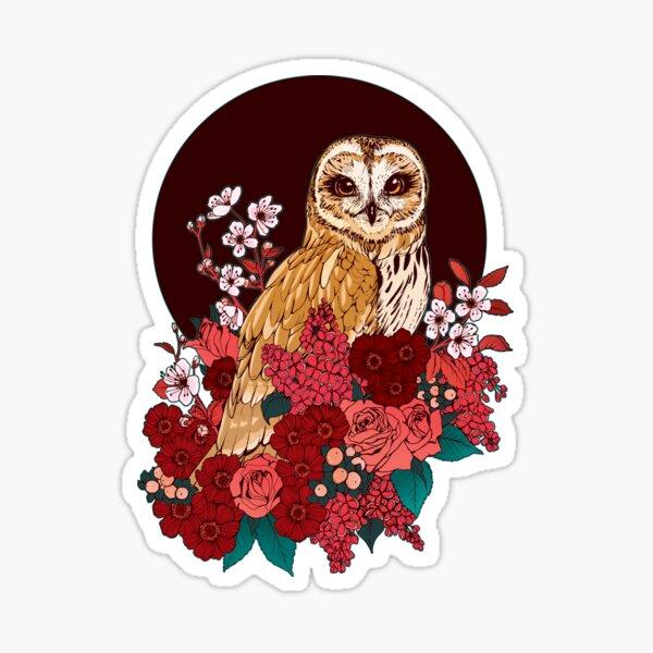 Owl Floral Eclipse Sticker
