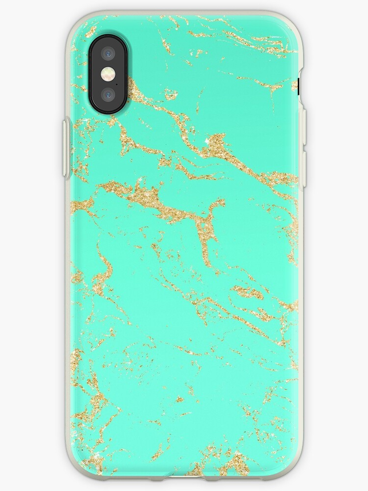 Modern gold glitter marble on mint green ombre by Girly Trend by GirlyTrend