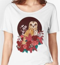 Owl Floral Eclipse Women's Relaxed Fit T-Shirt