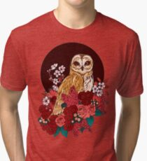 Owl Floral Eclipse Tri-blend T-Shirt