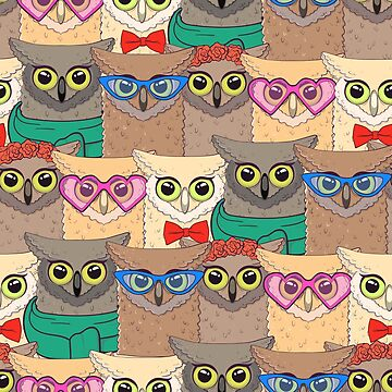 Pattern with cute owls with trendy accessories - glasses, bow-tie, flowers, scarf by Viktoriia