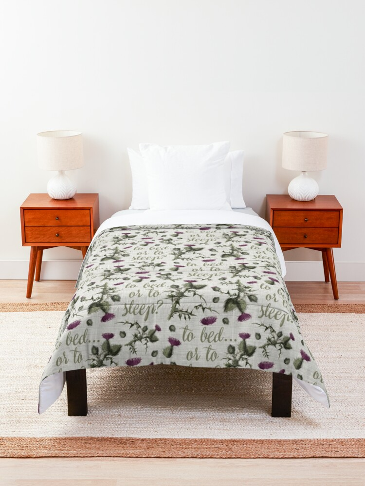 Alternate view of outlander thistle to bed or to sleep Comforter