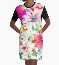 joyful flowers Graphic T-Shirt Dress