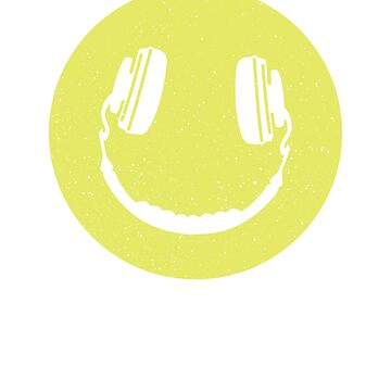 Smiling Face Headphones Music Lover DJ Happy Face by LuckyU-Design