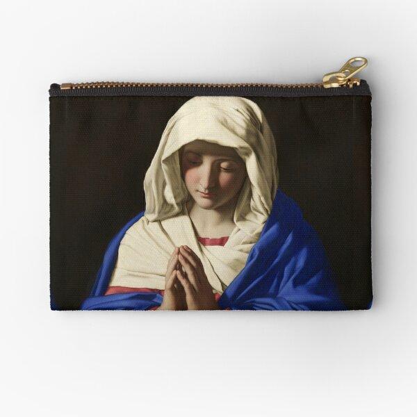 The Virgin in Prayer - Giovanni Battista Salvi da Sassoferrato Zipper Pouch