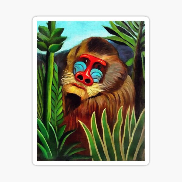 Mandrill in the Jungle - Henri Julien Rousseau Sticker