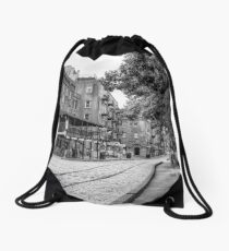 Savannah River Walk in Black and White Drawstring Bag