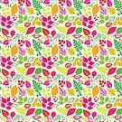 Colorful Fall Leaves Pink Orange Floral Autumn by SamAnnDesigns