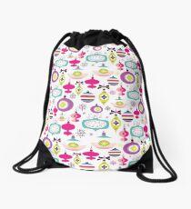 Trendy Holiday Ornament Pattern Pink Christmas Drawstring Bag