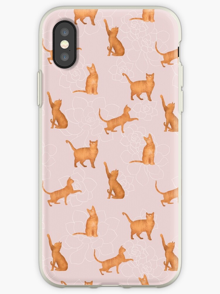 Yellow Gold Tabby Cats on Pink Succulent Pattern by Eleanor Rhinehart