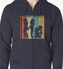 Vintage Retro Photographer Zipped Hoodie
