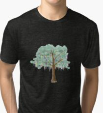 Mardi Gras Tree - watercolor Tri-blend T-Shirt
