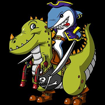Shark Pirate Riding A T-Rex Dinosaur Captain Funny by underheaven