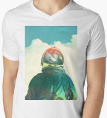 Gott ist ein Astronaut T-Shirt mit V-Ausschnitt