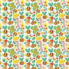 Garden Bumblebee Butterfly Bug Pattern by SamAnnDesigns
