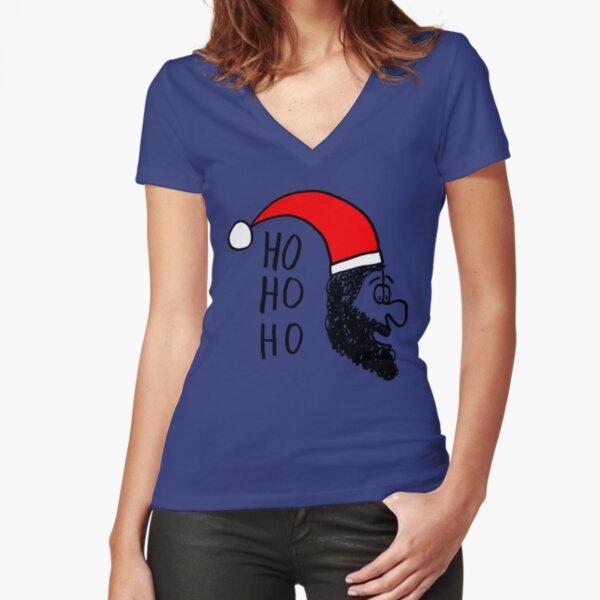 Ho ho ho - Santa is Coming Tailliertes T-Shirt mit V-Ausschnitt