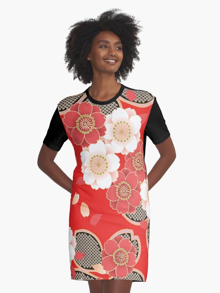 Japanese Wedding Kimono.Vintage Japanese Wedding Kimono Pattern Graphic T Shirt Dress By Vicky Brago Mitchell