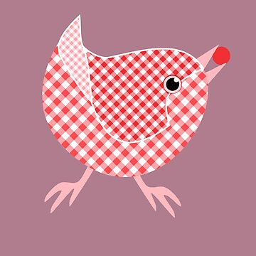 Gingham Bird - Pink by miniverdesigns
