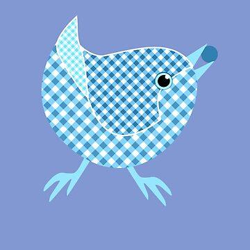 Gingham Bird - Blue by miniverdesigns