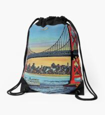 San Francisco Oakland California Retro Vintage Travel Poster Drawstring Bag