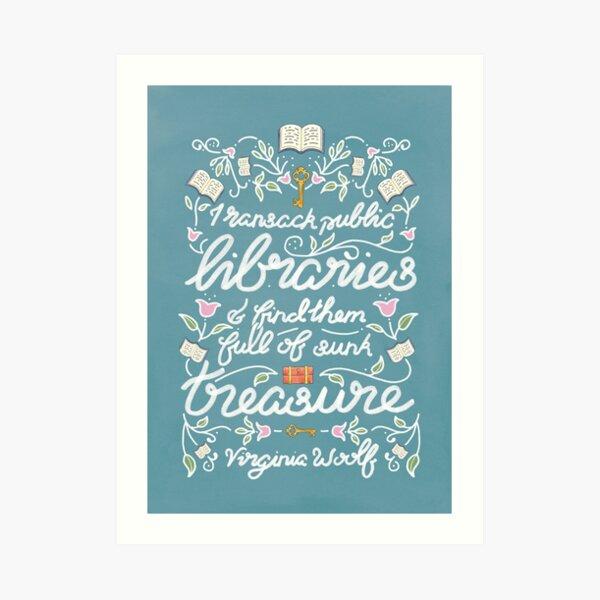 Virginia Woolf Library Literature Quote - Book Nerd Art Print