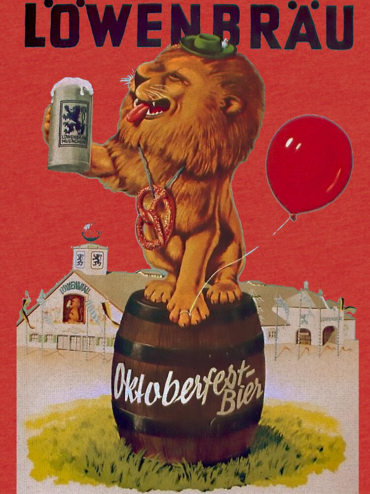 German Oktoberfest party with Lowenbrau Lion by edsimoneit