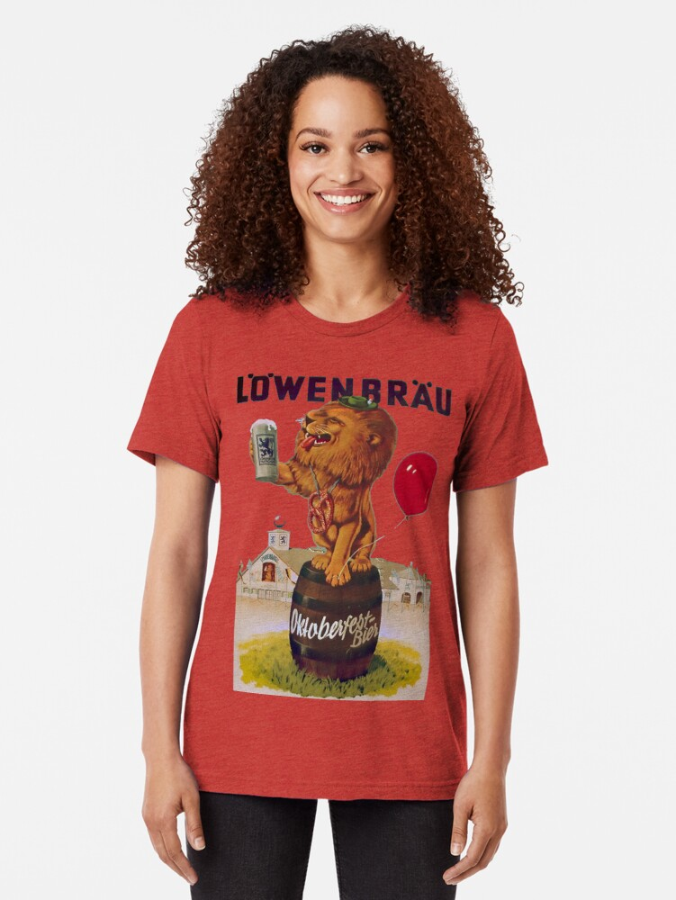 Alternate view of German Oktoberfest party with Lowenbrau Lion Tri-blend T-Shirt