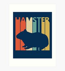 Vintage Retro Hamster Art Print
