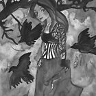 Raven Witch - Black & White  by Niina Niskanen