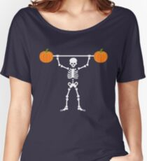 Skeleton Pumpkin Lifter Gym / Weightlifting Fitness Funny Halloween Gifts Women's Relaxed Fit T-Shirt