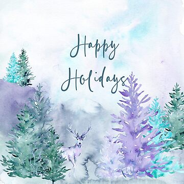 Watercolor Winter Wonderland Happy Holidays Design by Digitalbcon
