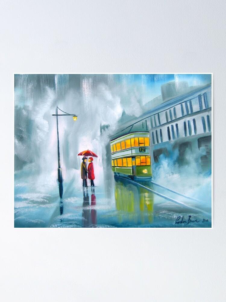 Alternate view of SAYING GOODBYE rainy day umbrella painting Poster