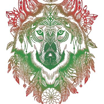 Shamanic Wolf Tribal Tribe Travel Wild Bestseller by Manqoo