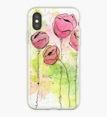 Pink and Green Splotch Flowers iPhone Case