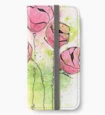 Pink and Green Splotch Flowers iPhone Wallet/Case/Skin