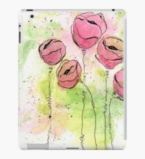 Pink and Green Splotch Flowers iPad Case/Skin