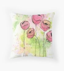 Pink and Green Splotch Flowers Throw Pillow