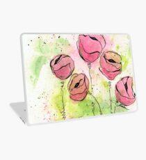 Pink and Green Splotch Flowers Laptop Skin